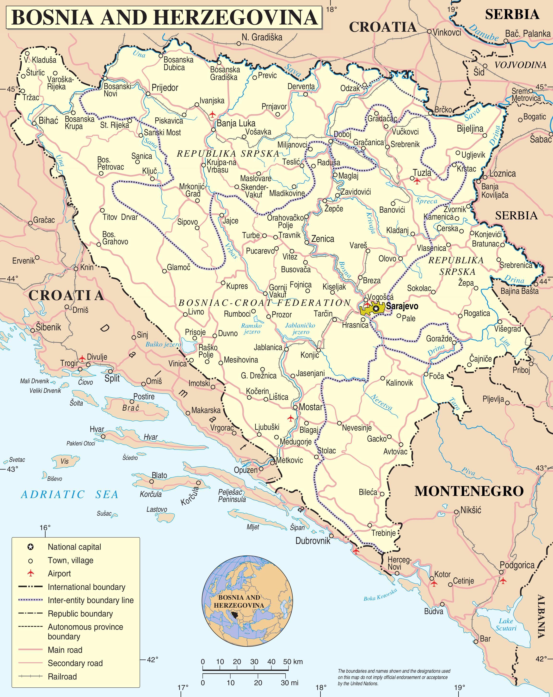 Bosnien Landkarte Karte Von Bosnien Europa Sud Europa