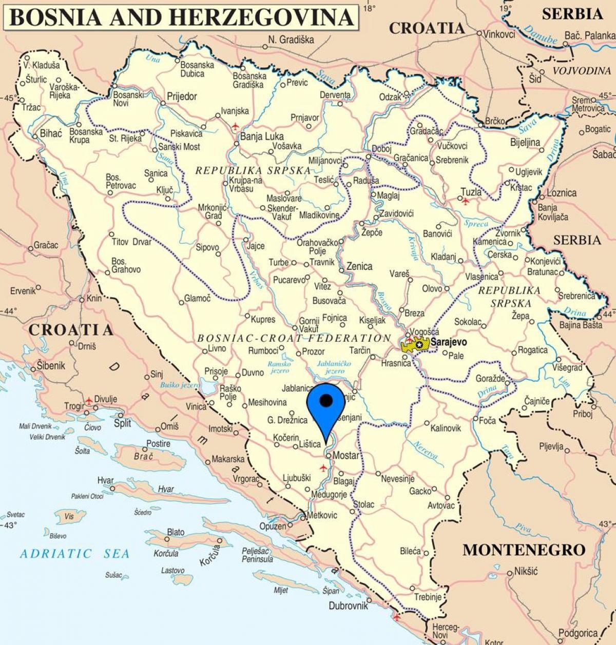 Mostar Bosnien Map Karte Von Mostar Bosnien Herzegowina Europa